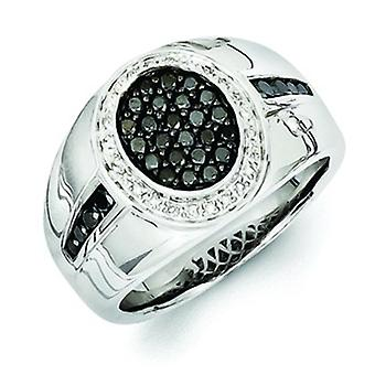 Sterling Silver Polished Prong set Gift Boxed Rhodium-plated White and Black Diamond Oval Mens Ring - Ring Size: 9 to 11