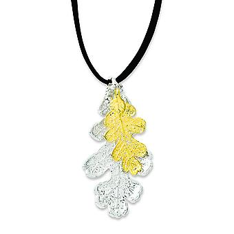 Sterling Silver/24k Gold Dipped Oak Leaf Necklace With Leather Cord - 20 Inch