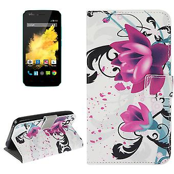 Mobile phone case pouch for mobile WIKO sunset flower purple / violet