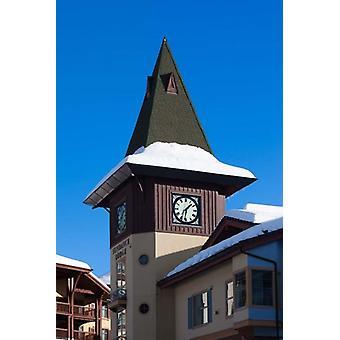British Columbia Sun Peaks Resort clock tower Poster Print by Walter Bibikow