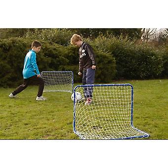 Set of 2 Penalty Zone Blue Steel Children Football Goal With Net Soccer Goals