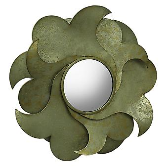 Distressed Layered Metal Flower Petal Mirrored Wall Decor 29 inch