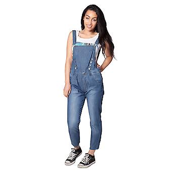 Womens - 3/4 length Dungarees - Stonewash Blue Denim Bib Overall Relaxed Fit