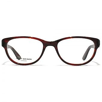 Kurt Geiger Alice Preppy Soft Rectangular Acetate Glasses In Red Horn