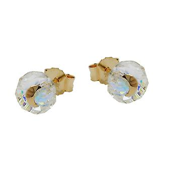 Earrings gold 585 connector, glass-Deepak-white moon 14 KT GOLD