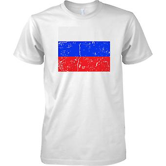 Russia Federation Distressed Grunge Effect Flag Design - Kids T Shirt