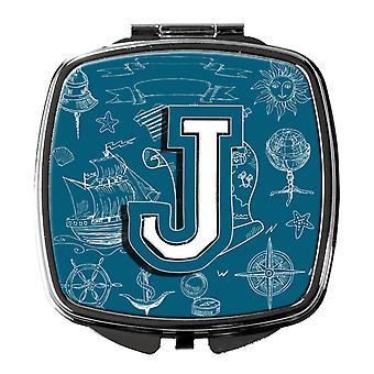 Letra J mar Doodles alfabeto inicial espelho compacto