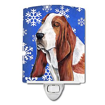 Basset Hound Winter Snowflakes Holiday Ceramic Night Light