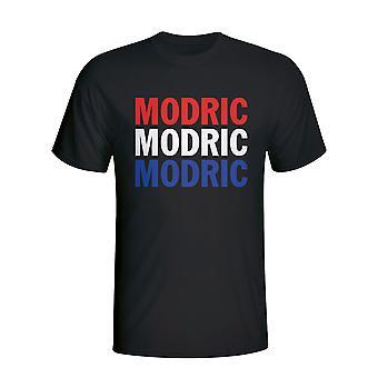 Luka Modric Croácia jogador bandeira T-shirt (preto)-Kids