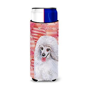 Medium White Poodle Love Michelob Ultra Hugger for slim cans