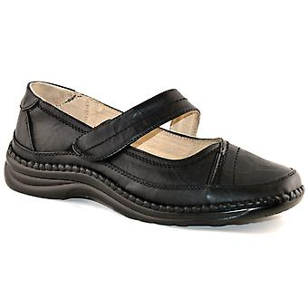 Ladies Womens Leather Extra Wide EEE Fit Slip On Elastic Shoe