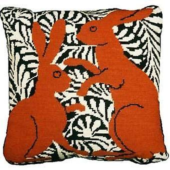 Brown Boxing Hares Needlepoint Kit