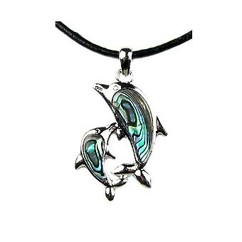 Woman Dolphin abalone pendant necklace