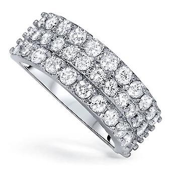 1 3/4ct Diamond Wedding Triple Row Ring 14K White Gold