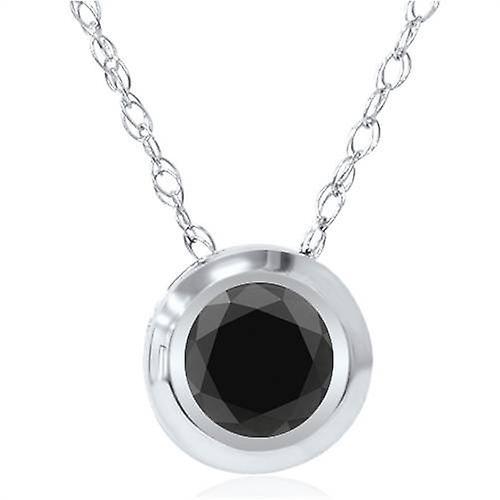 1 2ct noir Diamond Bezel Solitaire pendentif blanc or