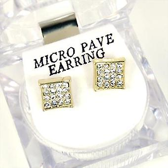 Bling Mirco Pave Ohrstecker - GOLD SQUARE 8mm