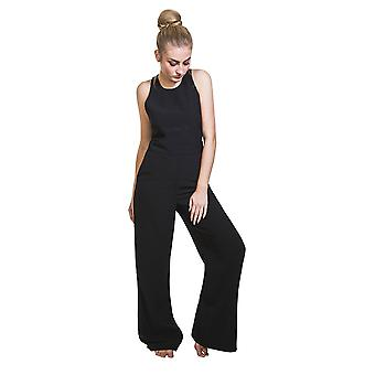 Damen High Waisted Overall - schwarz breite Bein Hosen Palazzo-Stil all-in-one