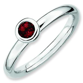 Sterling Silver Bezel Polished Rhodium-plated Stackable Expressions Low 4mm Round Garnet Ring - Ring Size: 5 to 10
