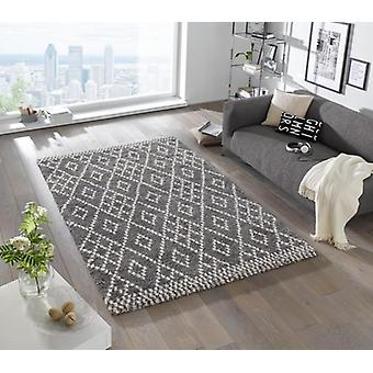 Design cut pile carpet deep pile chess grey cream