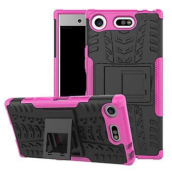 Hybrid Case 2teilig Robot Pink für Sony Xperia XZ1 Compact / Mini Tasche Hülle Cover Schutz