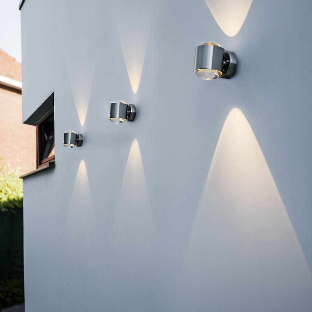 LuTec cristal 10W Exterior LED arriba y abajo de la lámpara de pared en acero inoxidable