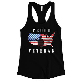 Proud Veteran Womens Black Workout Gym Tank Top For 4th Of July