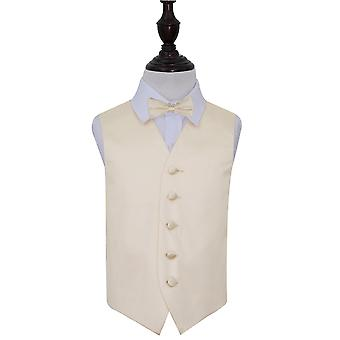 Champagne Plain Satin Wedding Waistcoat & Bow Tie Set for Boys