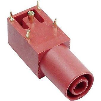 Safety jack socket Socket, horizontal mount Red Stäubli