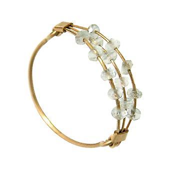 Gemshine - women's - ring - gold plated - aquamarine - blue