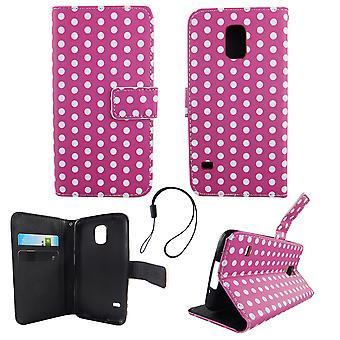 Handyhülle Tasche für Handy Samsung Galaxy S5 / S5 Neo Polka Dot Lila Weiss