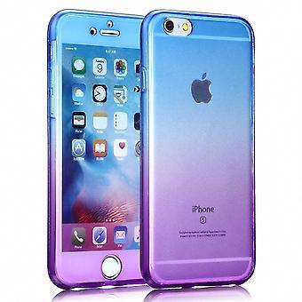 Crystal Case Hülle für Apple iPhone 6 / 6s Blau Lila Rahmen Full Body