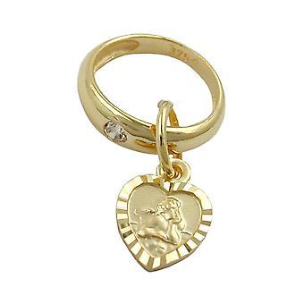 Крестины украшения Золото 375 крещения прицеп прицеп, крестин кольцо с сердцем, 9 KT ЗОЛОТО