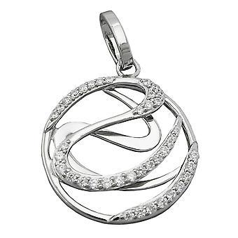 Anhänger rund Kettenanhänger silber Zirkonias glänzend rhodiniert Silber 925