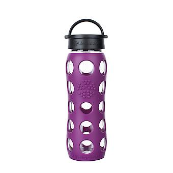 Lifefactory 22 oz Glass Water Bottle with Classic Cap and Silicone Sleeve Core - Plum