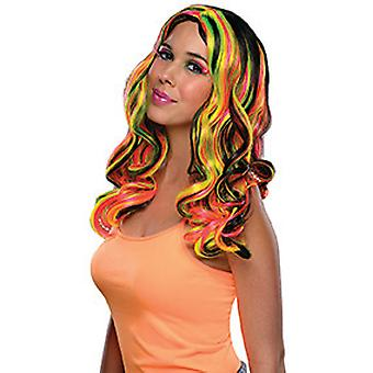 Multi streaks wig Black Womens wig shoulder length curly hair neon witch