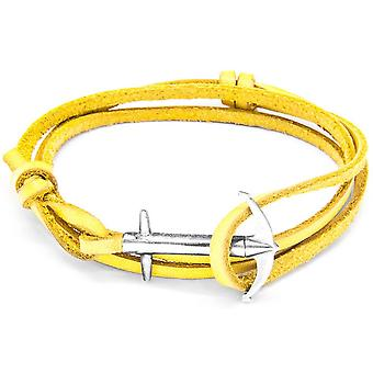 Anchor and Crew Admiral Silver and Leather Bracelet - Mustard Yellow