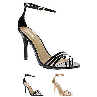 Womens Barely There Ankle Strap zehenoffenen Stiletto Riemchen High Heels UK 3-10