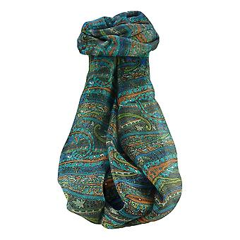 Mulberry Silk Traditional Long Scarf Gosthani Charcoal by Pashmina & Silk