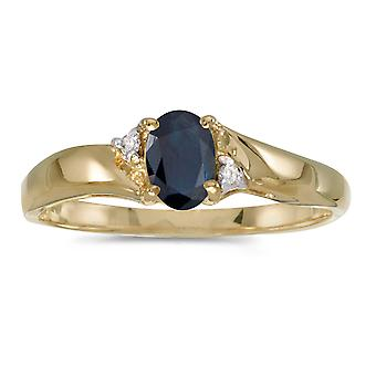 14k gult gull ovale safir og Diamond Ring