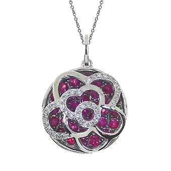 14k White Gold Floating Ruby Round Pendant with 18