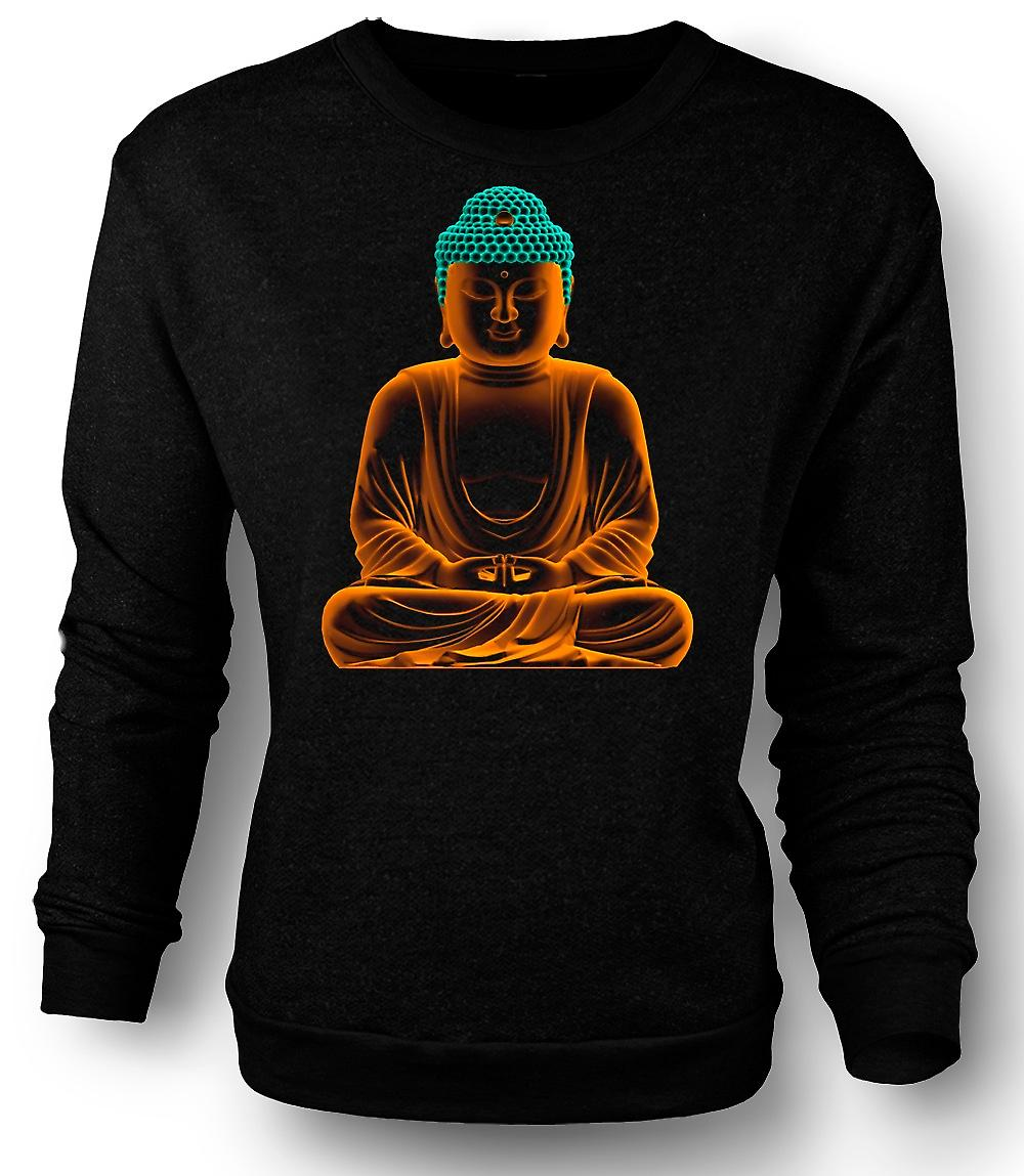 Mens Sweatshirt Serene Gouden Boeddha - geestelijke