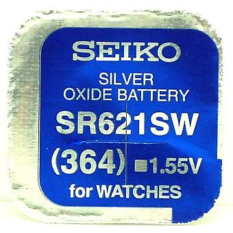 Seiko 364 (sr621sw) 1.55v Silver Oxide (0%hg) Mercury Free Watch Battery - Made In Japan