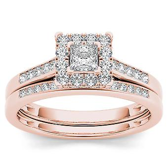 IGI Certified 10k Rose Gold 0.50 Ct Princess Diamond Halo Engagement Ring Set