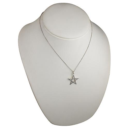 Silver 26mm Pentangle Pendant with a curb chain