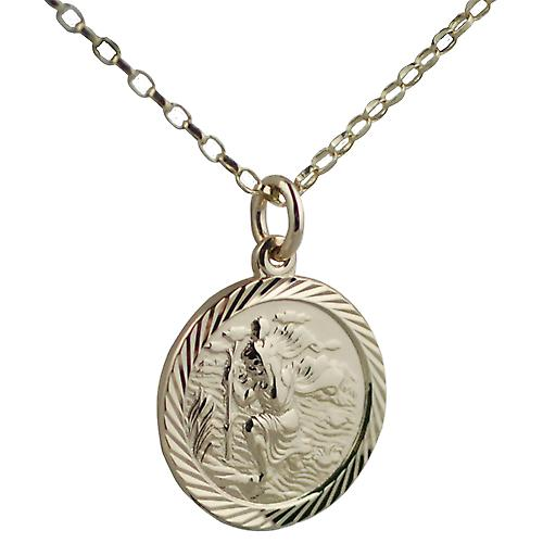 9ct Gold 20mm round diamond cut edge St Christopher Pendant with belcher Chain 16 inches Only Suitable for Children