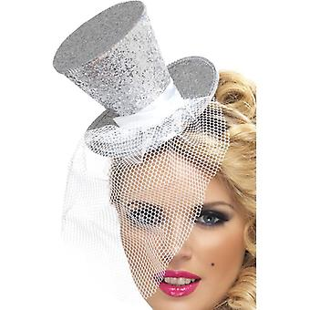 Womens Silber Mini Top Hat auf Stirnband Fancy Dress Zubehör