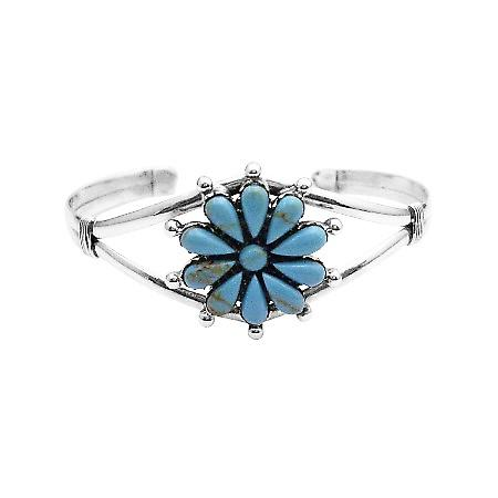 Perfect Gift For Your Mother Floral Design Turquiose Sterling Bracelet