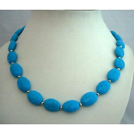 Natural Turquoise Handcrafted Necklace Silver Beads Turquoise Choker