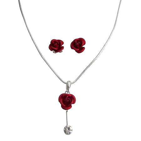 Xmas Gifts Vintage Red Rose Pendant Earrings Jewelry Set in Gift Box