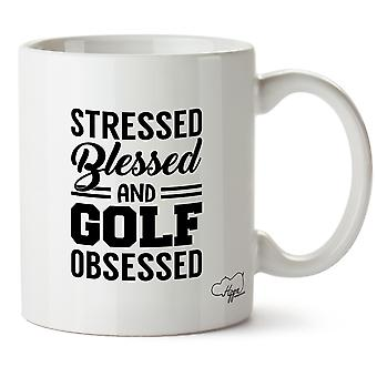Hippowarehouse Stressed Blessed And Golf Obsessed Printed Mug Cup Ceramic 10oz